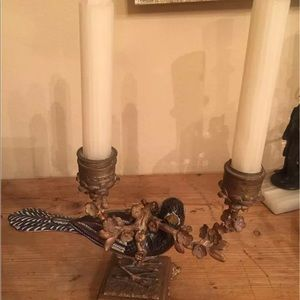 Other - ANTIQUE BRONZE PAINTED BIRD CANDLEHOLDER
